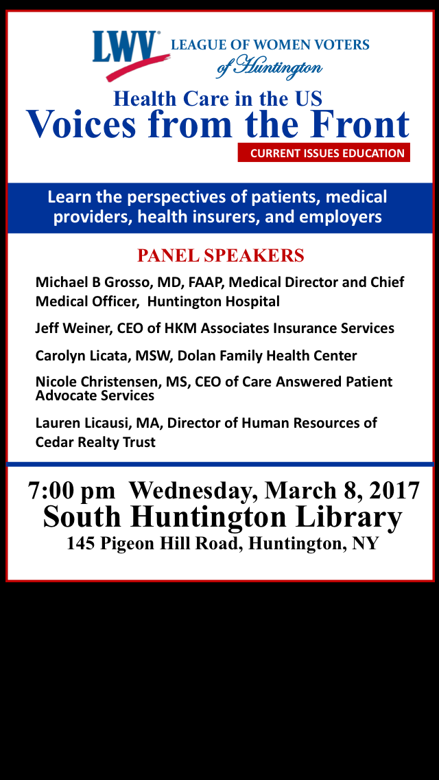 Event March 8, 2017- Expert Panel Discussion Healthcare in the US